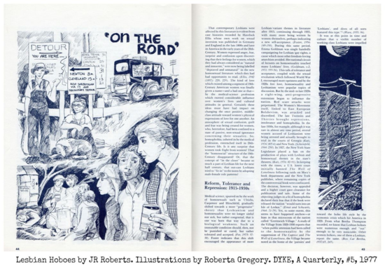 DAQ lesbian hoboes JR Roberts,illustrations by Roberta Gregor ©Tomoato Publications Dyke a quarterly 1977 pp 44 45