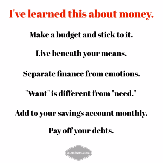 I've learned this about money. financial literacy. money management. budget.