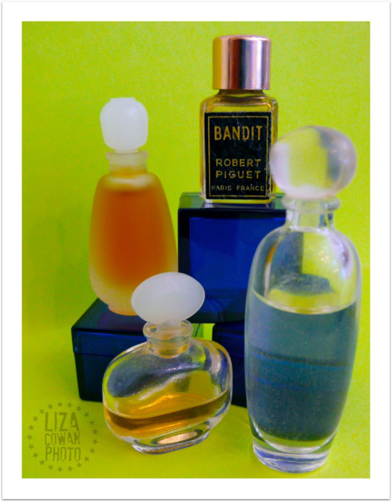 Perfume bottles, vintage. Bandit perfume. Glass bottles,  Photo Liza Cowan