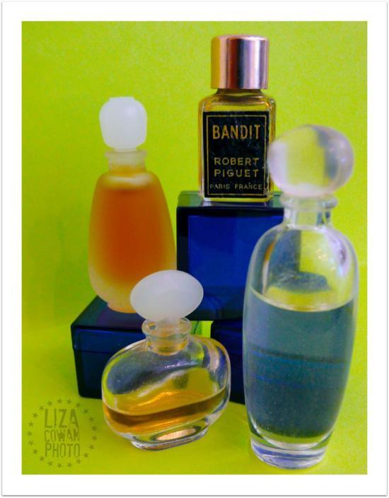 Perfume bottles, vintage. Bandit perfume. Glass bottles,  Photo Liza Cowan