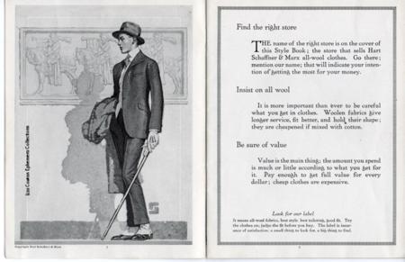 hart shaffner marx style book, elegant young man, spats, dandy with walking stick Liza Cowan Ephemera CollectionsLI
