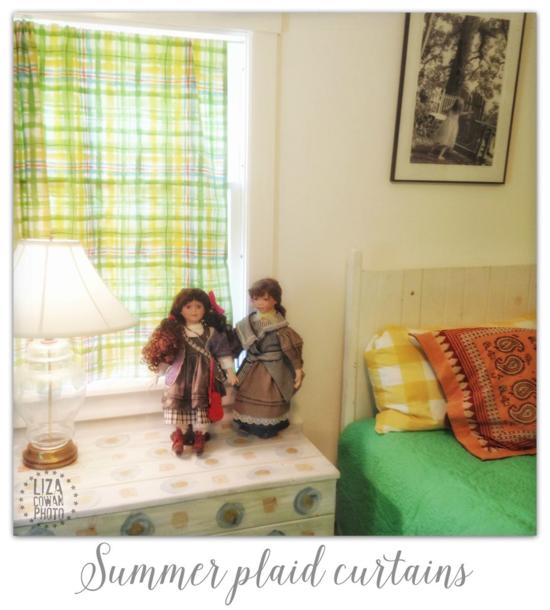Summer plaid curtains. Photo ©Liza Cowan 2015