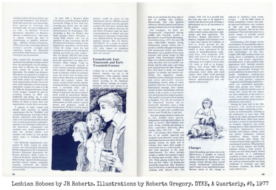 DAQ lesbian hoboes jr roberts,illustrations by Roberta Gregory. ©Tomoato Publications Dyke a quarterly 1977 pp 42 43