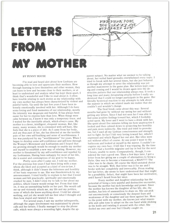Penny House DYKE A Quarterly 1976 letters from my mother p. 21 daq