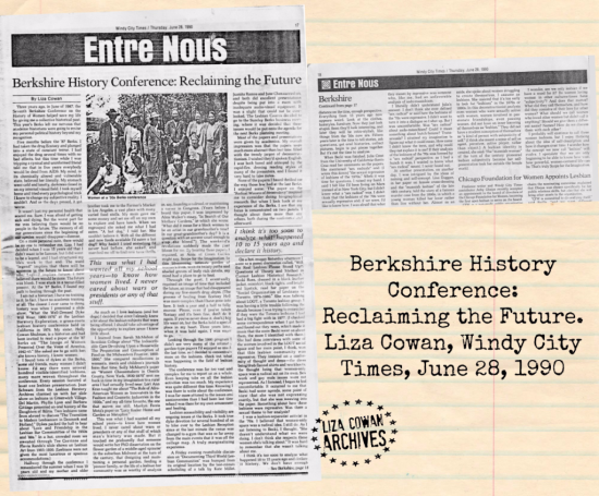 Berkshire Conference on the history of women article by liza cowan windy city times 1990