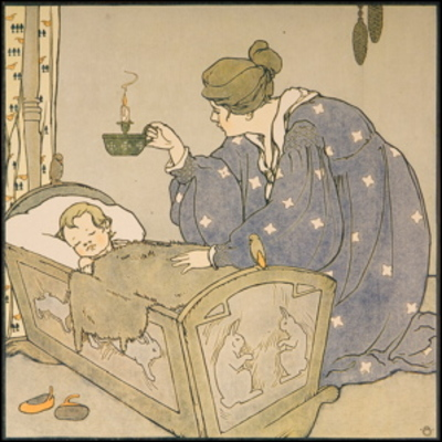 mary louise spoor, bye baby bunting, chromolithograph, mother and baby, baby in cradle, blue dress stars