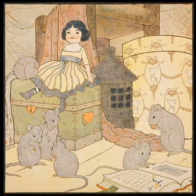 Mary Louise Spoor, 1917, chromolithograph, children's illustration, hickory dickory dock, mice, doll