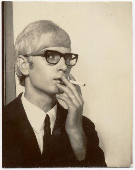 american photobooth, nakki goranin, man smoking, black glasses