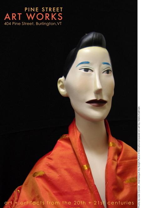 Ralph Pucci, Maira Kalman, mannequin, orange sari fabric, mannequin on postcard