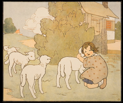 Mary Louise Spoor, 1917, nursery school poster, chromolith, little bo peep, sheep